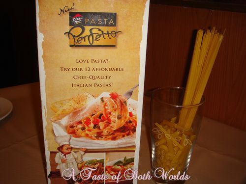 Pasta menu on pizzahut